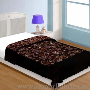 Dark  Brown With  Flower Print Velvet(Shaneel) Single  Quilt