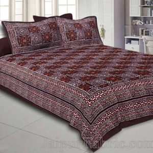 Double Bedsheet Dabu Indigo Dye Choclate Brown Geometric Patteren