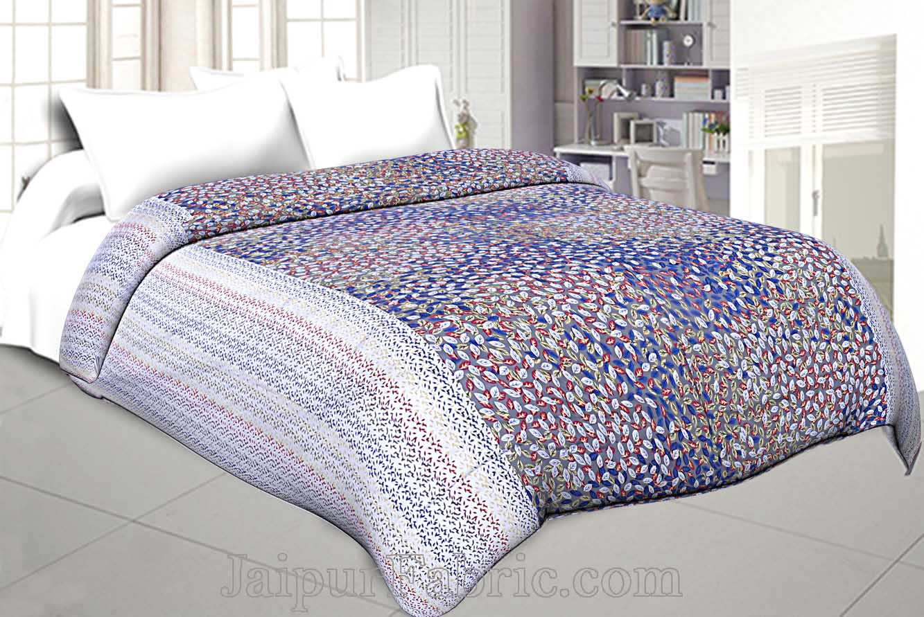 Cambric Cotton Double bed Reversible Dohar with Blue Spring Petals