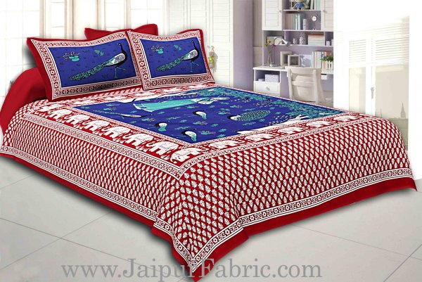 Maroon Border Blue Base Meera With Peacocks Cotton Double Bedsheet