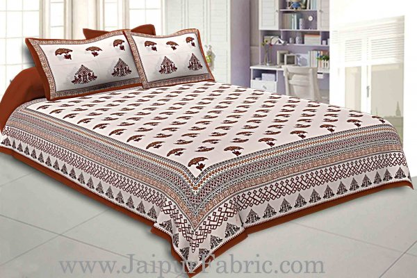 Double Bedsheet  Light Red Border Fine Cotton Umbrella Print