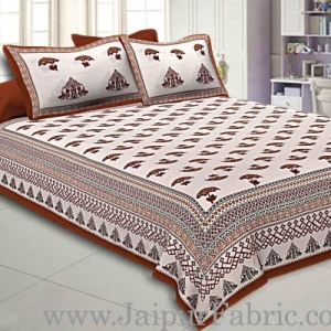 Double Bedsheet  Light Red Border Fine Cotton Umbrella Print