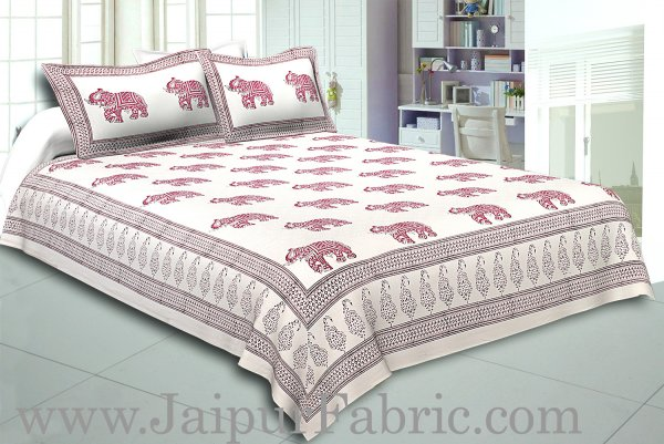 Cream Border In  Cream Base Maroon And Gajri Elephant Hand Block Print Super Fine Cotton Double Bed Sheet