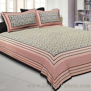 Super King Size Double Bedsheet Black Retro Pattern with 2 Pillow Covers