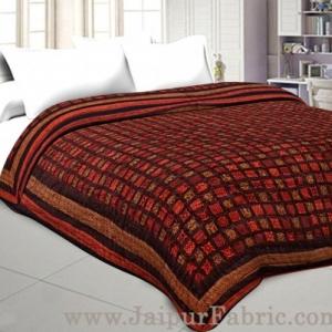 Double Bed Quilt Check & Dabu Cotton (Multicolour)