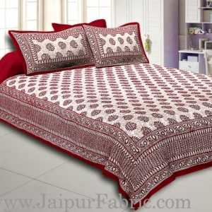 Maroon Border  Maroon Base Kerry Pattern Hand Block Print Super Fine Cotton Bed Sheet