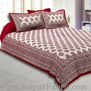Wholesale  Maroon Border Maroon Base Kerry Pattern Hand Block Print Super Fine Cotton Bed Sheet