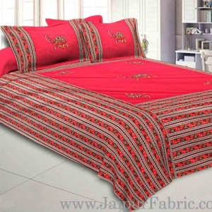 Double Bedsheet Rani Base Patchwork  (uplik) With Camel Design With Two Pillow Cover