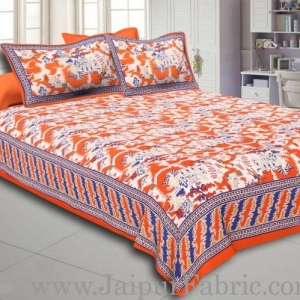 Orange Border Good Looking Heritage Design Pure Cotton Double Bedsheet With Pillow Cover