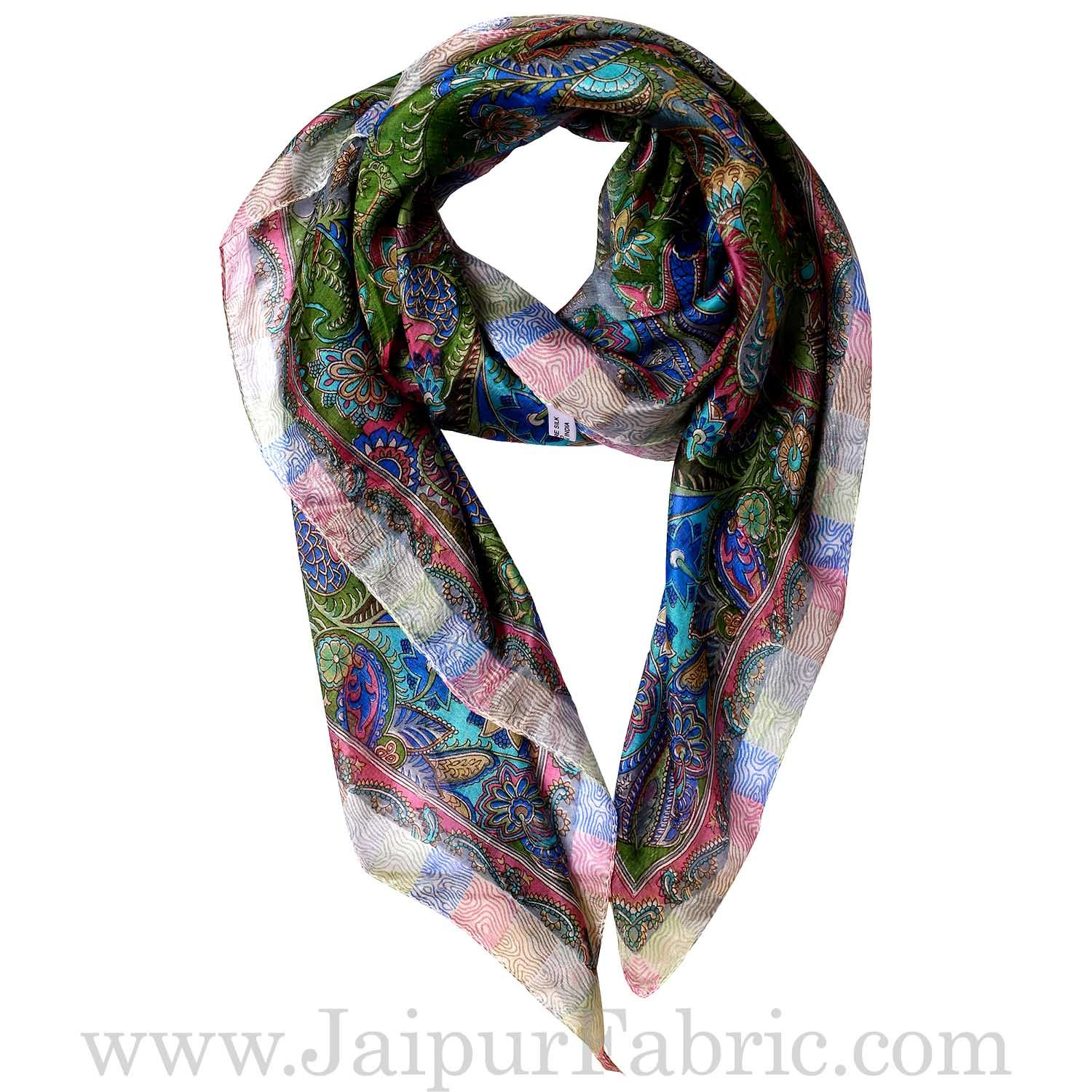 Silk Scarf Floral Diamond pattern