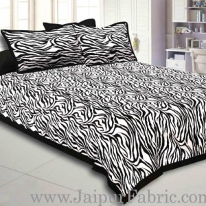 Black Border White  Base Zebra Print Fine Cotton Double Bed sheet  With Pillow Cover
