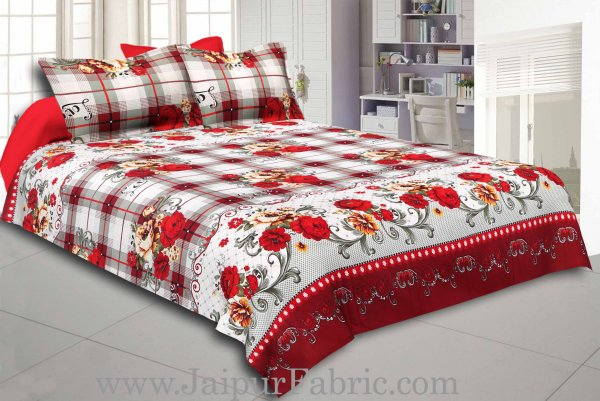 Checkered Base Floral Print Cotton Double Bed Sheet