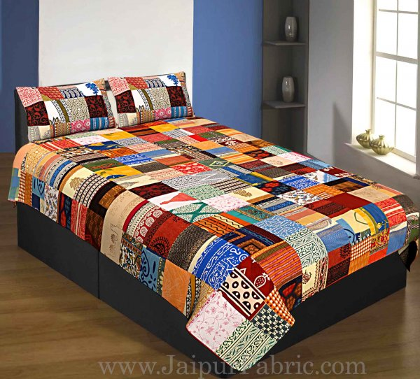 Mix  Small Tukdi Super Fine Cotton Golden Print Single Bedsheet