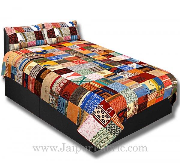 Mix  Small Tukdi Super Fine Cotton Golden Print Single Bedsheet