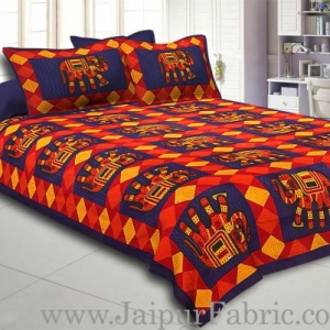 Blue Border Red Base Big Elephant And Square Pattern Cotton Double Bed Sheet