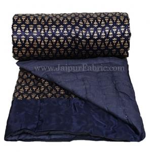 Single Bed Quilt Navy Blue Base Golden Floral Print Silk