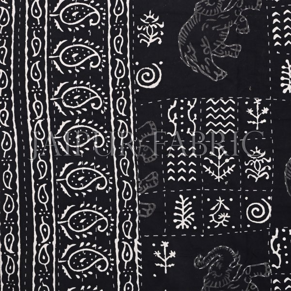 Black And White Hand Block Dabu Print With Thread Hand Work(Kantha) With Lining Cotton Gudri (Bed Cover)