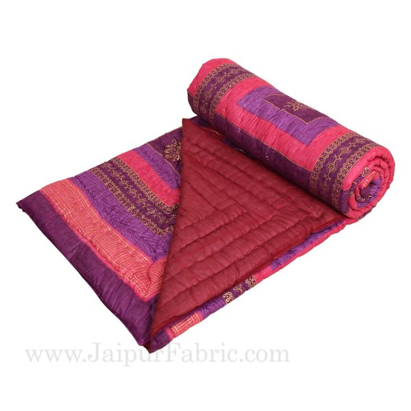 Purple And Rani Golden Jaipuri  Tree  print Double Bed Quilt