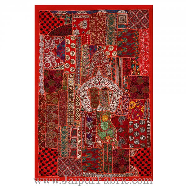 Wall hanging embroidered patchwork with applique work Multi Color