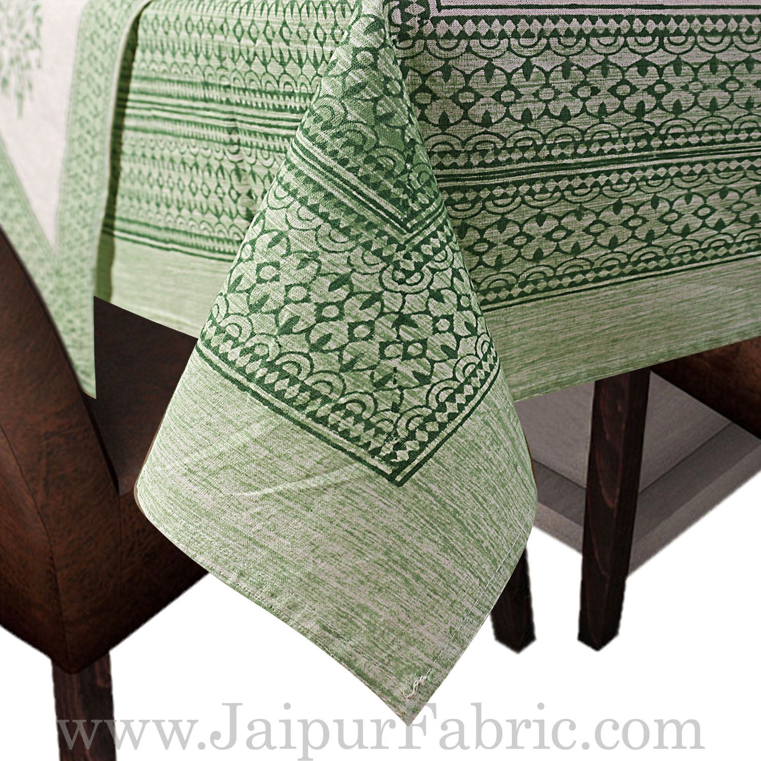 Greenish Border White Base With Hand  Block Print Super Fine Cotton Table Cover