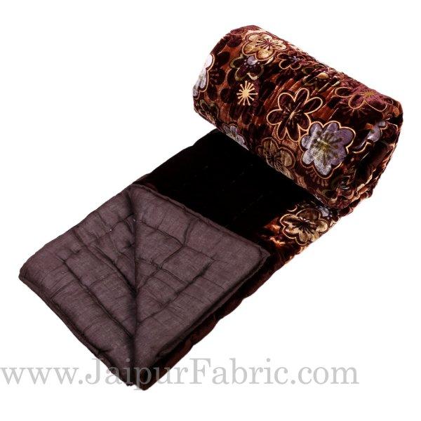 Dark  Brown With  Flower Print Velvet(Shaneel) Single  Quilt