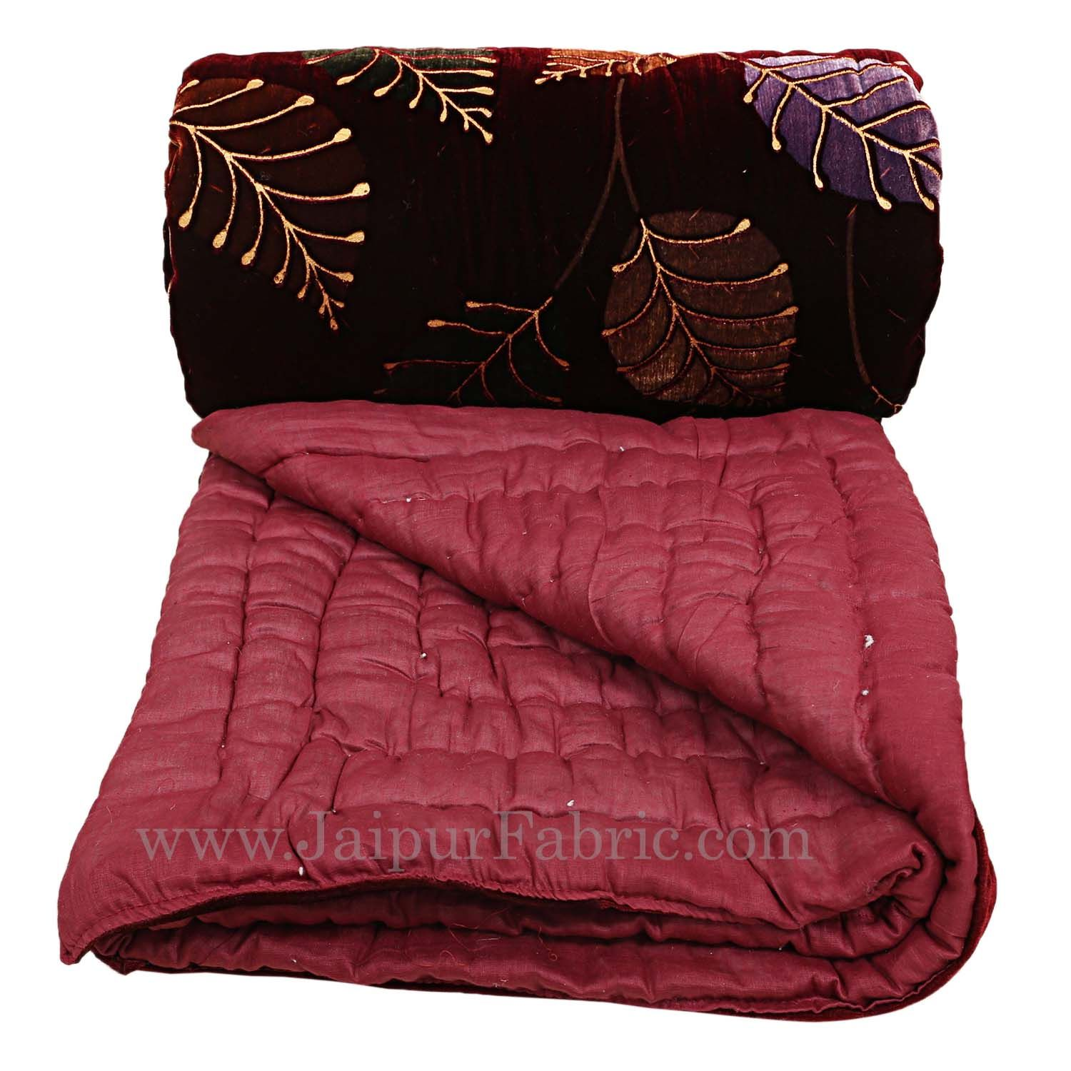 Red Floral  With  Leaf Print  Velvet(Shaneel) Double  Bed Quilt