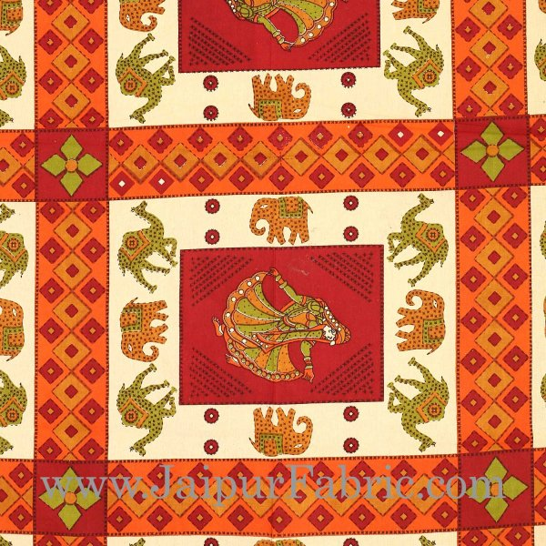 Maroon Border  Cream Base Camel And Elephant With Dancing Doll Diwan Set