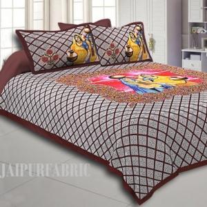 Dark Coffee Colour Paniharan  design Cotton Double BedSheet