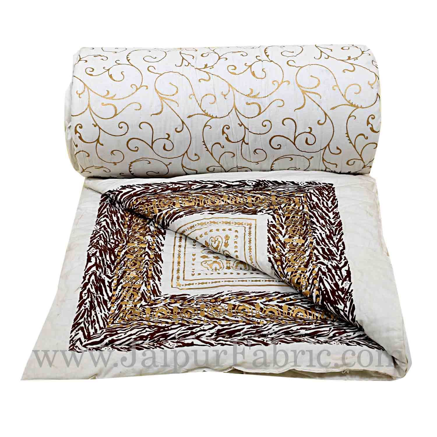 Jaipuri Printed Double Bed Razai Golden  Coffee White base with Jall pattern