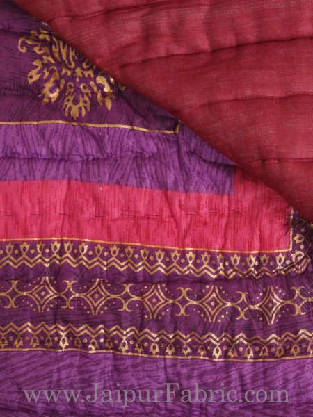 Purple And Rani Golden Jaipuri  Tree  print Double Bed Quilt