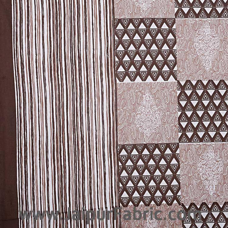 Double Bedsheet Coffe Brown Checkered Pattern