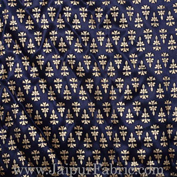 Single Bed Quilt Navy Blue Base Golden Floral Print Silk