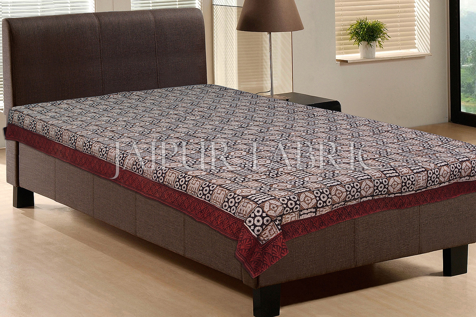 Square Prints With Red Border Single Cotton Bed Sheet
