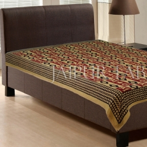 Diamond Shape Pattern Beige Color Hand Block Print Single Cotton Bedsheet