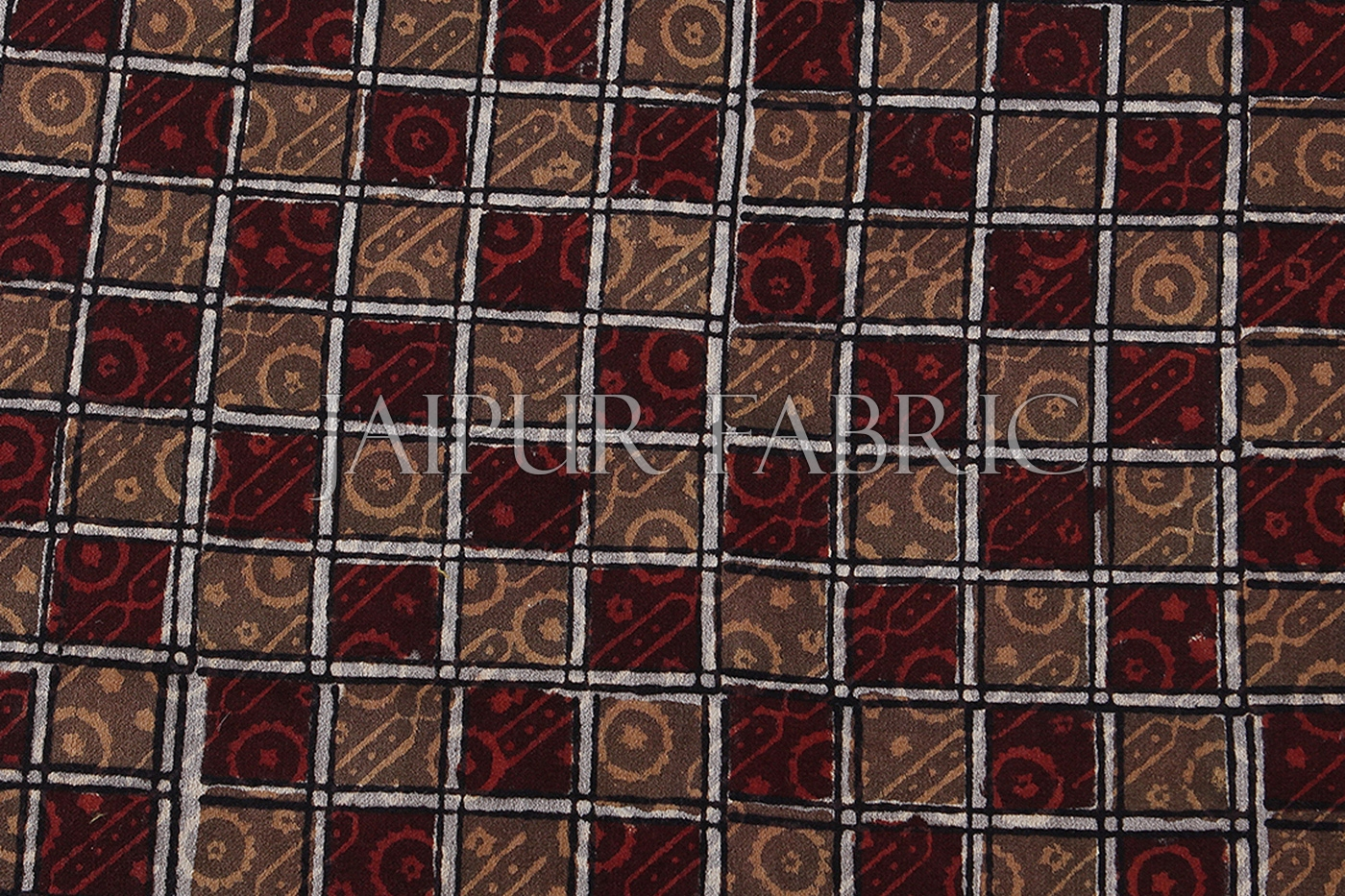 Dark Brown Square Hand Block Print with Grey Base Single Cotton bedSheet