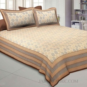 Leafy Style Brown Cotton Satin King Size Bedsheet