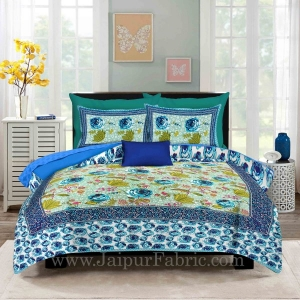 Cream Base Rose Floral Design Screen Print Multi Base King Size Double Bedsheet With 2 Pillow Cover