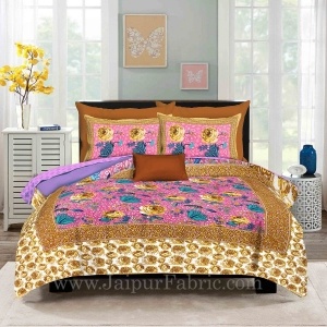Pink Base Rose Floral Design Screen Print Multi Base King Size Double Bedsheet With 2 Pillow Cover