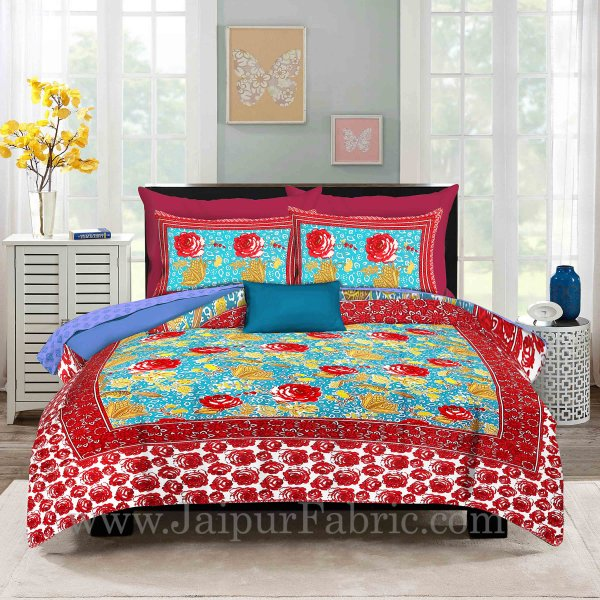 Sky Blue Base Rose Floral Design Screen Print Multi Base King Size Double Bedsheet With 2 Pillow Cover