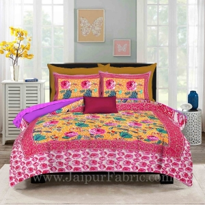 Yellow Base Rose Floral Design Screen Print Multi Base King Size Double Bedsheet With 2 Pillow Cover