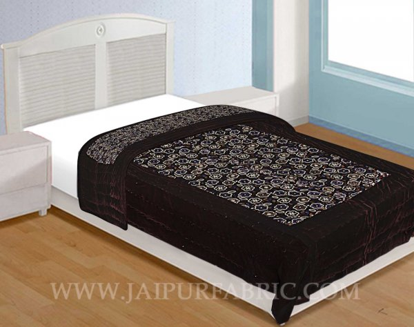 Jaipuri Hand Crafted Floral Print Velvet Single Quilt/Rajai