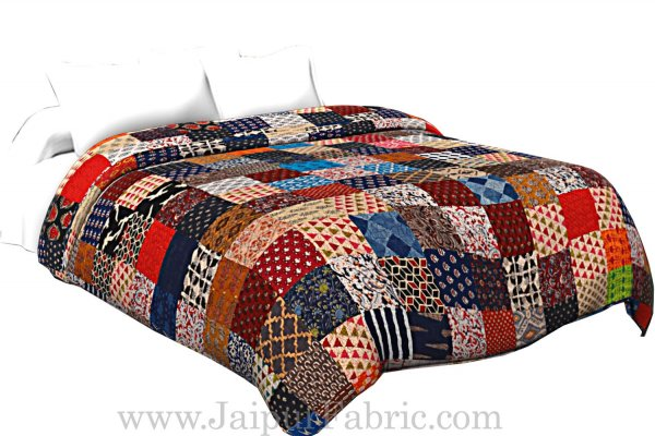 Patchwork AC Quilt/Blanket Soft Designer Double Bed - Multicolor (Multi)