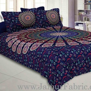 Blue Mandala Double Bedsheet Tapestry with 2 Pillow Covers