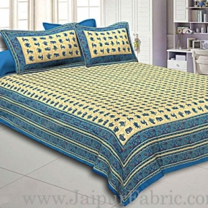 King Size Double Bedsheet  Hand Block And Animal Print Super Fine Cotton