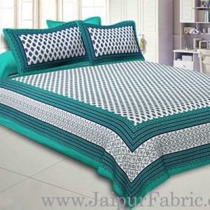Double Bedsheet Sea Green Border Fine Cotton Leaf Print With Two Pillow Cover