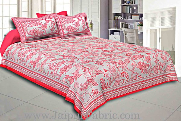 Red Border Cream Base Leaf And Floral Cotton Satin Hand Block Double Bedsheet