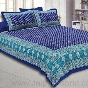 Navy Blue Color Floral Pattern Screen Print Cotton Double Bed Sheet