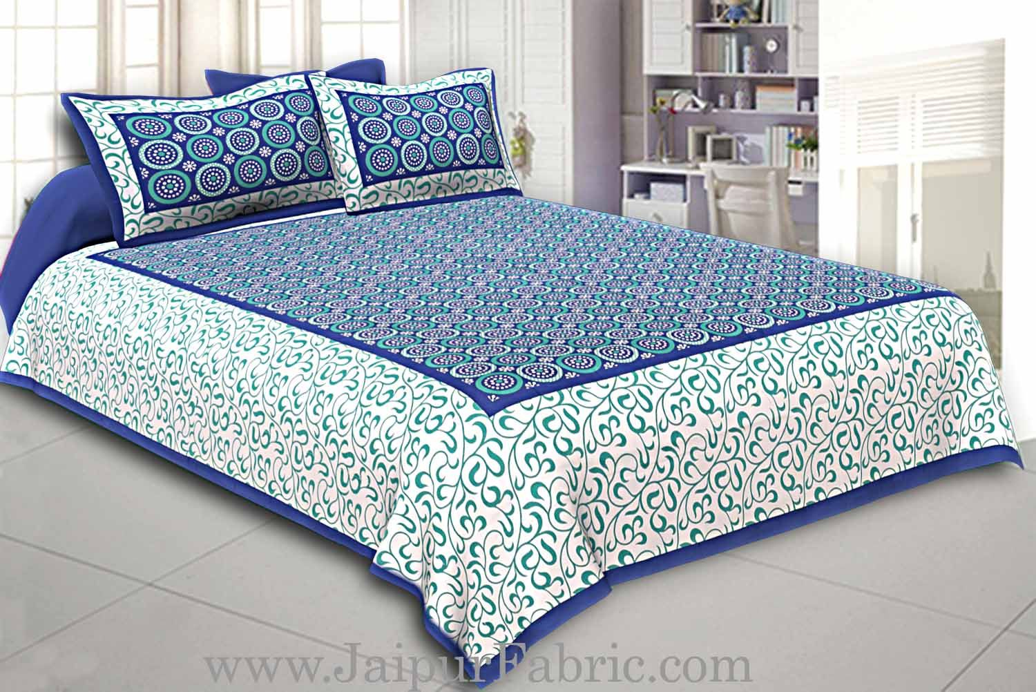 Navy Blue Border White Base Circle Pattern Screen Print Cotton Double Bed Sheet