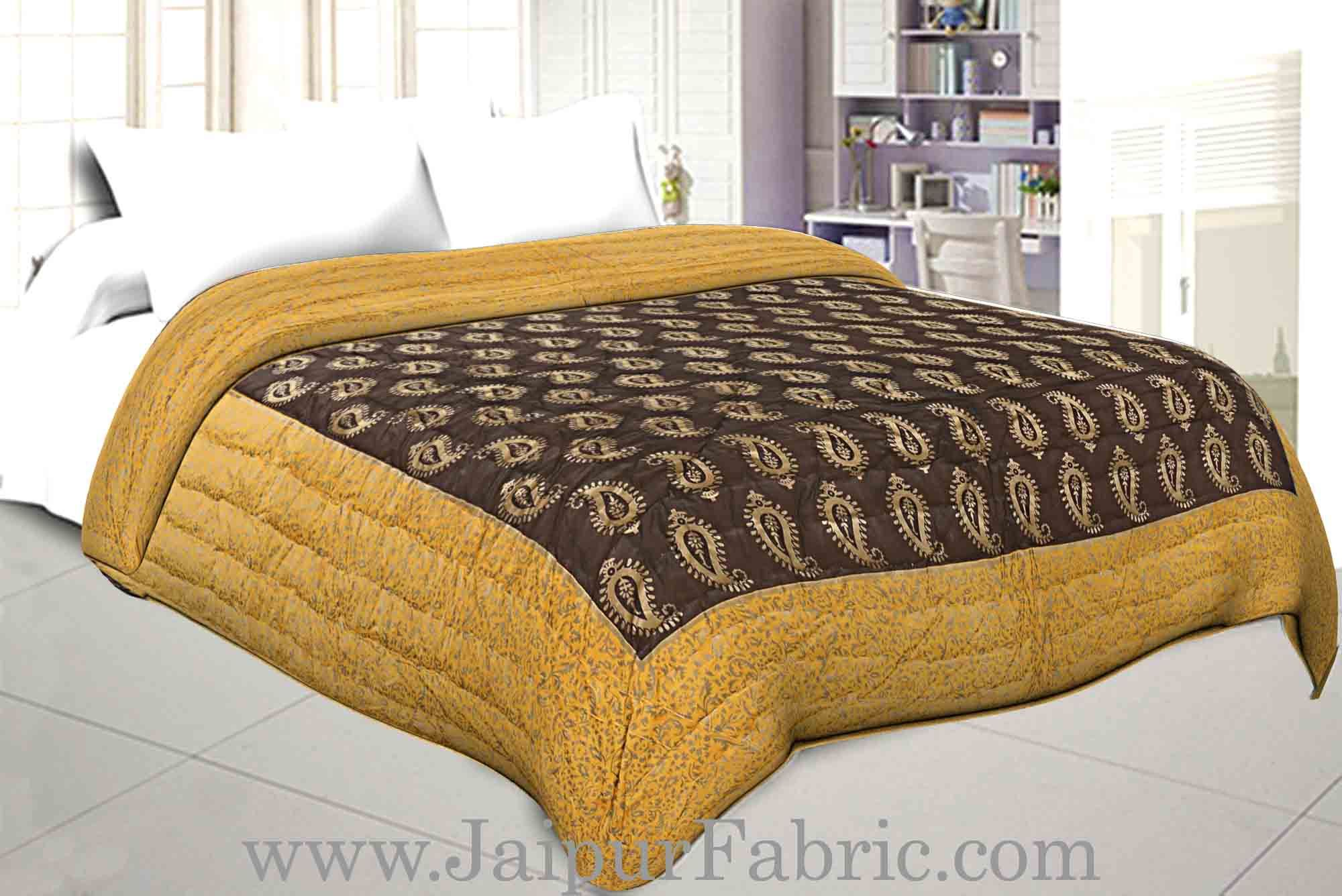 ddb794920f Jaipuri Printed Double Bed Razai Golden Yellow and black with Paisley  pattern