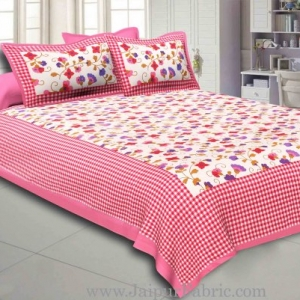 Pink Border jaipuri design floral print Cotton Double Bedsheet with Pillow Cover